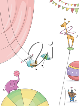 Background Illustration Featuring Animals Performing in the Circus