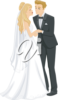 Illustration of a Newlywed Couple About to Kiss