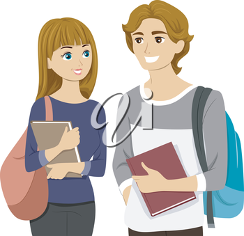 Illustration of a Teen Couple Chatting at School