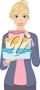 Illustration Featuring a Woman Carrying a Stack of Food Containers