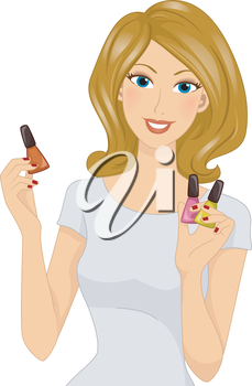 Illustration Featuring a Girl Holding Different Nail Polishes