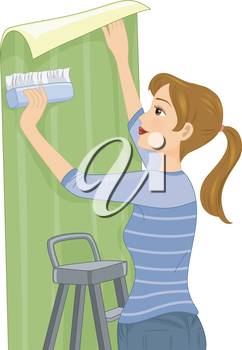 Illustration Featuring a Woman Installing Wallpaper on Her Wall
