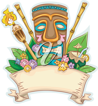 Banner Illustration Featuring a Tiki Surrounded by Hawaii-Related Items