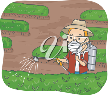 Illustration Featuring a Man Spraying Pesticide on His Plants
