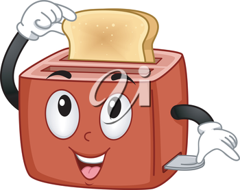 Mascot Illustration Featuring a Toaster Checking Out a Piece of Bread