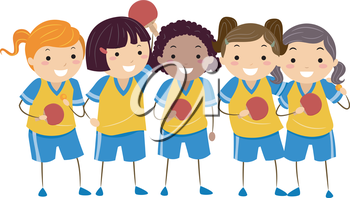 Illustration of Little Girls Dressed in Table Tennis Uniforms