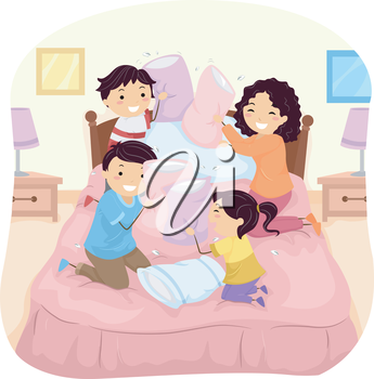 Illustration of a Family Having a Pillow Fight in Bed