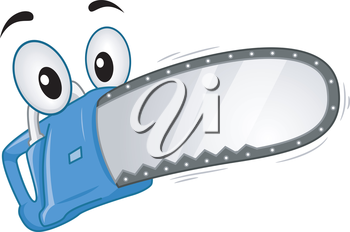 Mascot Illustration of a Chainsaw in Full Throttle