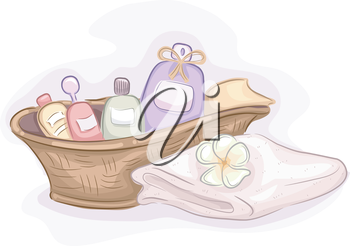 Illustration of Basket Filled with Different Products Used for Massages