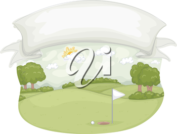 Illustration of a Golf Course Under a Large Blank Banner