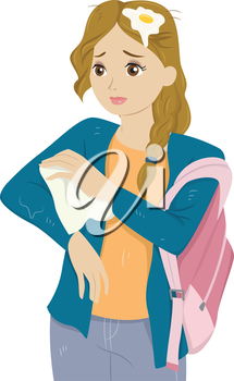 Illustration of a Girl Wiping off Water from her Clothes