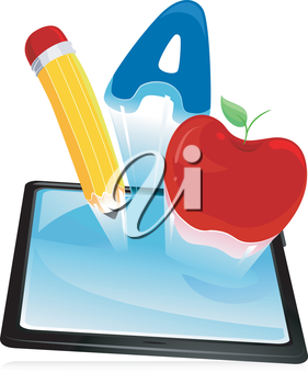 Illustration of a Tablet Computer with Education Symbols Hovering Over It