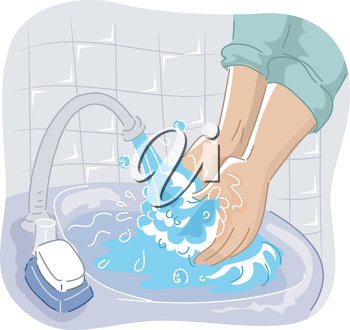 Cropped Illustration of a Person Washing His Hand on the Sink