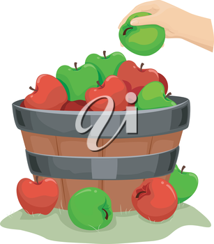 Background Illustration of a Wooden Barrel Filled with Apples