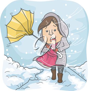 Illustration of a Woman Braving Heavy Winds and Snowfall