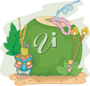 Frame Illustration of a Coconut Drink with a Tiki Glass Beside It