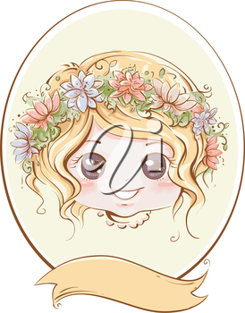 Retro Illustration of a Little Girl with a Band of Flowers Adorning Her Head