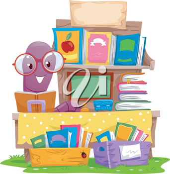 Illustration of an Earthworm Selling Books at a Yard Sale