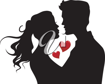 Illustration of the Silhouette of a Couple About to Kiss