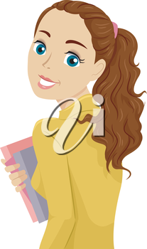 Illustration of a Teenage Girl Carrying Books Looking Back
