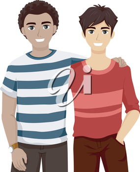 Illustration of Male Teenage Best Friends Hanging Out Together