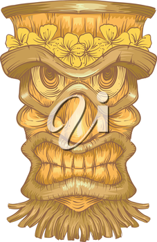Illustration of a Golden Wooden Statue with Tiki Carvings
