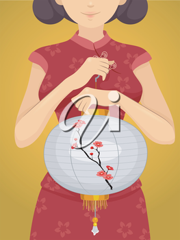 Illustration of a Chinese Girl in a Cheongsam Carrying a Chinese Lantern