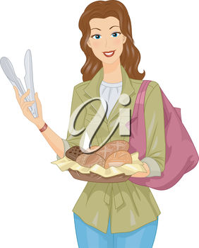 Illustration of a Woman Carrying a Basket of Bread
