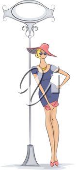 Sketchy Illustration of a Fashionable Woman Leaning Against a Light Pole