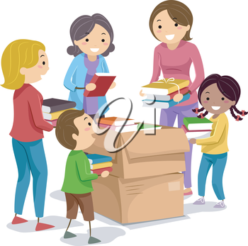 Stickman Illustration of Kids Putting Their Books in Donation Boxes