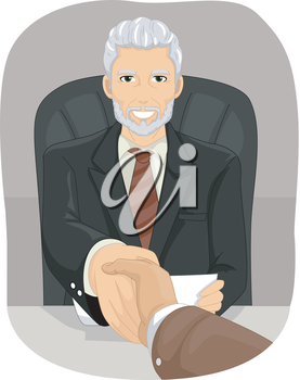 Illustration of an Elderly Businessman Shaking Hands with a Client