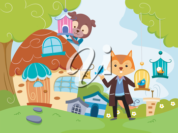 Whimsical Illustration of a Pet Shop Run by Anthropomorphic Animals