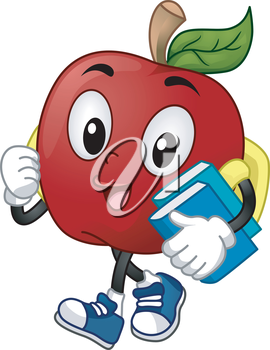 Mascot Illustration of a Student carrying books