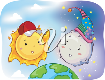 Mascot Illustration of Sun and Moon facing each other