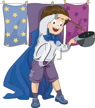 Illustration of a Boy playing as a Magician