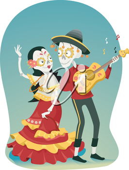 Illustration of a Coule Sugar Skulls Dancing and Playing the Guitar