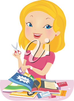Illustration of a Girl Collecting Discount Coupons from a Magazine