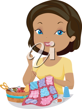 Illustration of a Girl Sewing a Quilt by Hand
