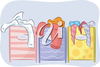 Illustration Featuring Different Colored Hampers for Sorting Laundry