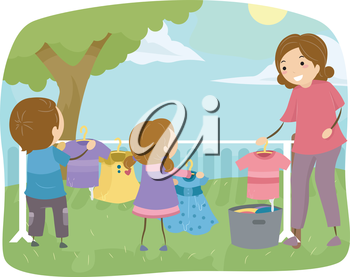 Stickman Illustration of Kids Helping Their Mom to do the Laundry