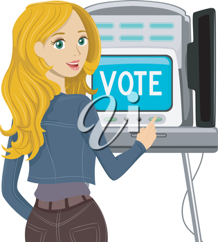 Illustration of a Teenage Voter Casting Her Vote