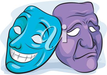 Illustration of a Pair of Masks Depicting Personality Disorder
