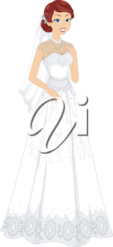 Illustration of a Lovely Bride Wearing a Lacy Bridal Gown