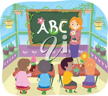 Illustration of Kids Learning About Plants