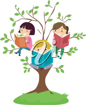 Stickman Illustration of Kids Reading Books While Sitting on Tree Branches