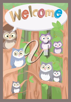 Illustration of a Bulletin Board Featuring a Family of Owls