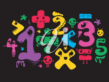 Illustration Featuring Numbers Shaped Like Monsters