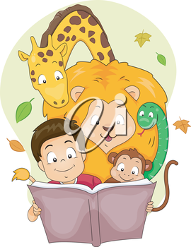 Illustration of a Boy Reading a Storybook with Wild Animals