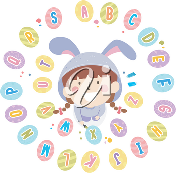 Illustration of a Kid Girl Wearing an Easter Bunny Looking Up with Alphabet Easter Eggs