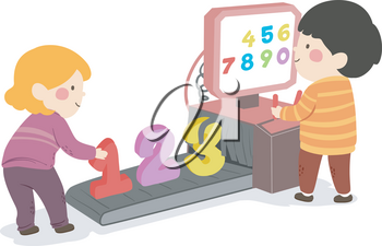 Illustration of Kids Scanning Numbers from One to Zero